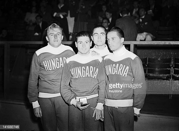 The Hungarian team with their silver medal after the Men's 4 × 200 metres Freestyle Relay at the Empire Pool Wembley during the London Olympics 3rd...