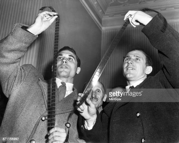 The Hungary football team visit the Pathe News Studio in London to watch the film of their 63 demolition of England at Wembley Stadium the previous...