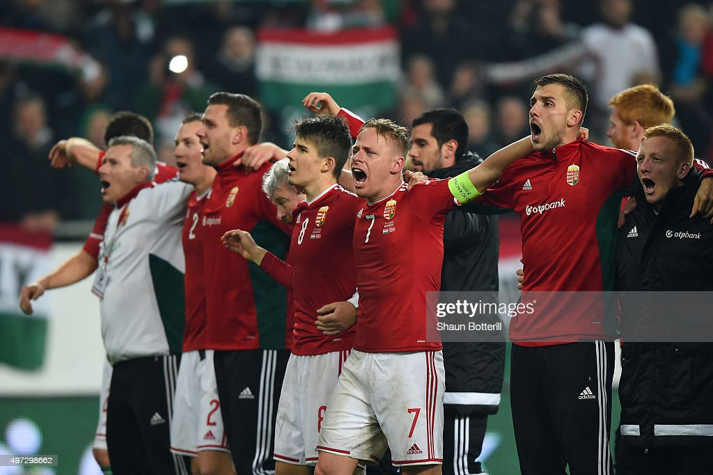 The Hungary team celebrate following their 2-1 victory and qualification during the UEFA EURO 2016 Qualifier Play-Off, second leg match between Hungary and Norway at Groupama Arena on November 15, 2015 in Budapest, Hungary.