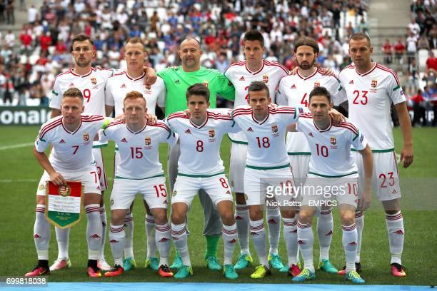 The Hungary team group of Hungary's Tamas Priskin Hungary's Adam Lang Hungary goalkeeper Gabor Kiraly Hungary's Richard Guzmics Hungary's Tamas Kadar...