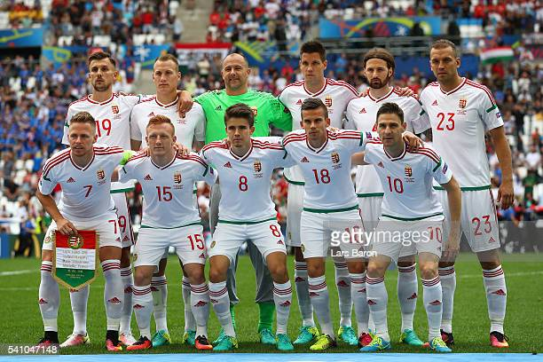 The Hungary team pose for photos during the UEFA EURO 2016 Group F match between Iceland and Hungary at Stade Velodrome on June 18 2016 in Marseille...