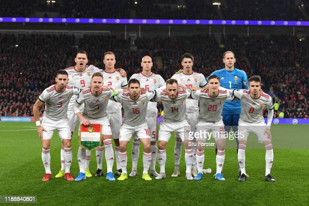 The Hungary team pose for their team picture before the UEFA Euro 2020 qualifier between Wales and Hungary at Cardiff City Stadium on November 19,...