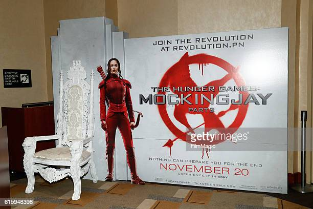 'The Hunger Games Mockingjay Part 2' key art is displayed at the CLIO Key Art Awards 2016 at Dolby Theatre on October 20 2016 in Hollywood California