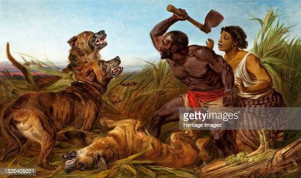 The Hunted Slaves, 1862. This depicts a fugitive enslaved man and woman beset by three mastiff dogs in a marshy landscape. On the right side of the...