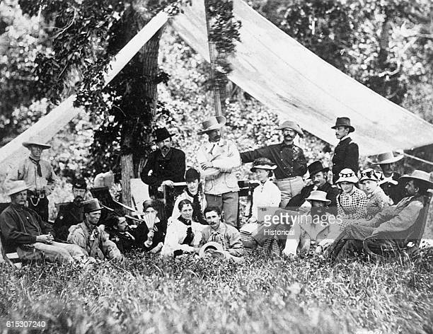 The hunting and camping party of General George Custer shown standing in center with invited guests at Fort A Lincoln on the Little Heart River in...