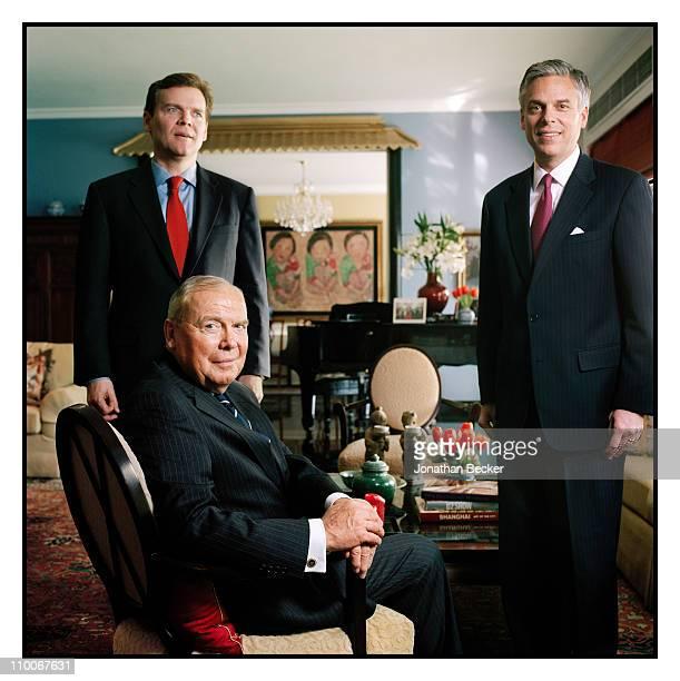 The Huntsman Family: Peter Huntsman, Jon Huntsman and Jon Huntsman Jr. Are photographed for Fortune Magazine on March 10, 2010 in Beijing, China....
