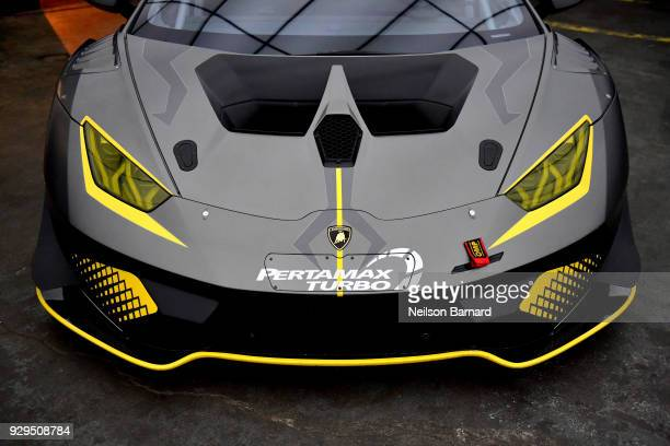 The Huracan Super Trofeo EVO is displayed during the debut of Lamborghini's first ever super sport utility vehicle Urus on March 8 2018 in Los...