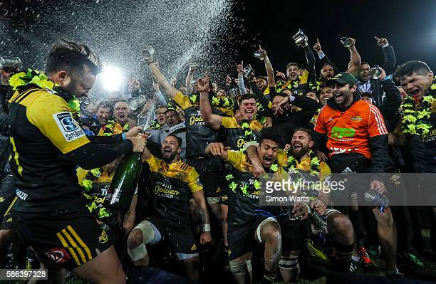 The Hurricanes celebrate after winning the 2016 Super Rugby Final match between the Hurricanes and the Lions at Westpac Stadium on August 6, 2016 in...