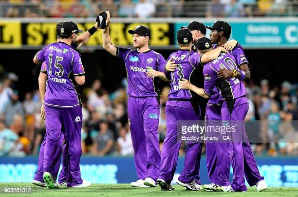 The Hurricanes celebrate victory after the Big Bash League match between the Brisbane Heat and the Hobart Hurricanes at The Gabba on January 10 2018...