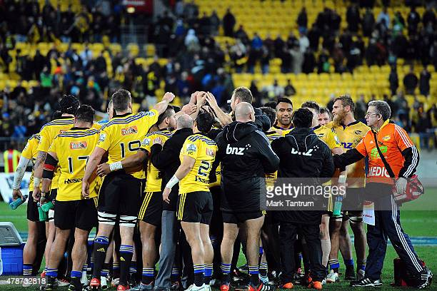 The Hurricanes celebrate winning the Super Rugby Semi Final match between the Hurricanes and the Brumbies at Westpac Stadium on June 27 2015 in...