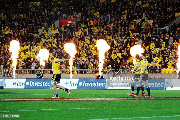 The Hurricanes enter the field prior to the Super Rugby Semi Final match between the Hurricanes and the Brumbies at Westpac Stadium on June 27 2015...