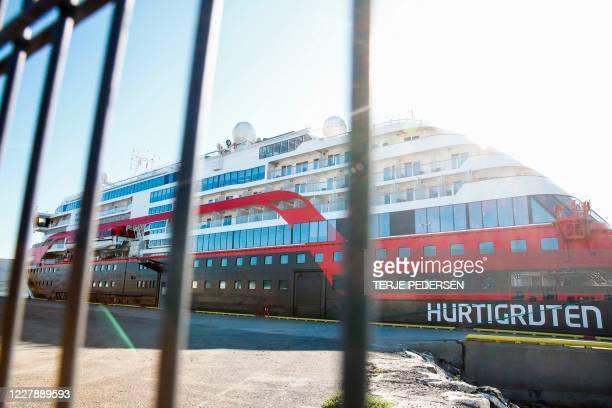 The Hurtigruten ship Roald Amundsen is moored on August 3, 2020 in Breivika, in Tromsø, northern Norway, following an outbreak of the novel...