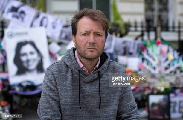 The husband of Nazanin Zaghari-Ratcliffe, Richard Ratcliffe, continues his hunger strike outside the Iranian Embassy on June 28, 2019 in London,...