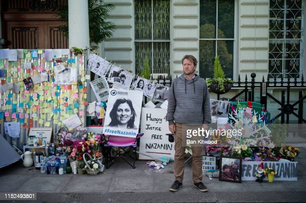 The husband of Nazanin Zaghari-Ratcliffe, Richard Ratcliffe, poses for a picture as he continues his hunger strike outside the Iranian Embassy on...
