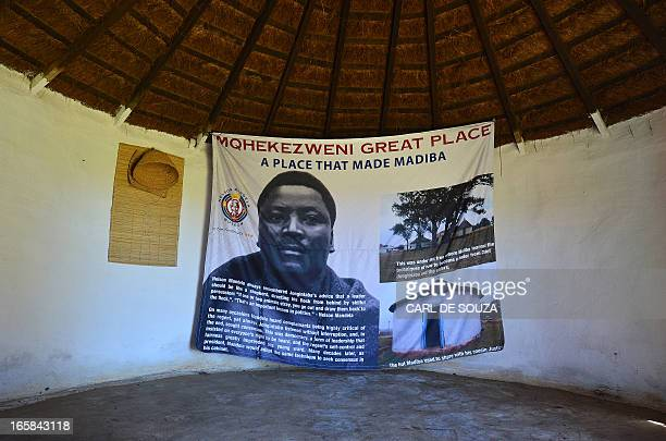 The hut at the Great Place palace at Mqhekezweni where Former South African President Nelson Mandela lived when he was entrusted under the...