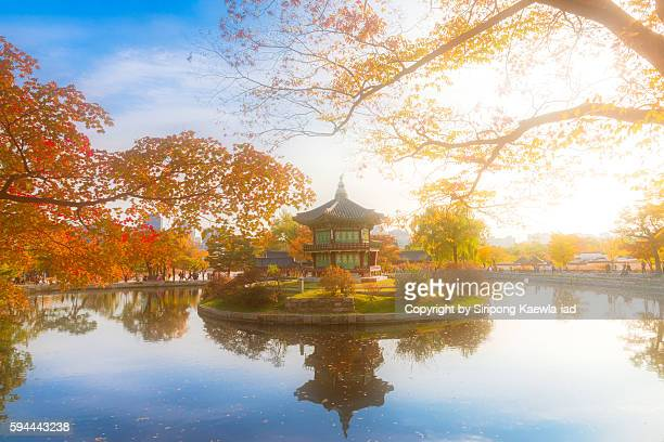 The Hyangwonjeong Pavilion in autumn season