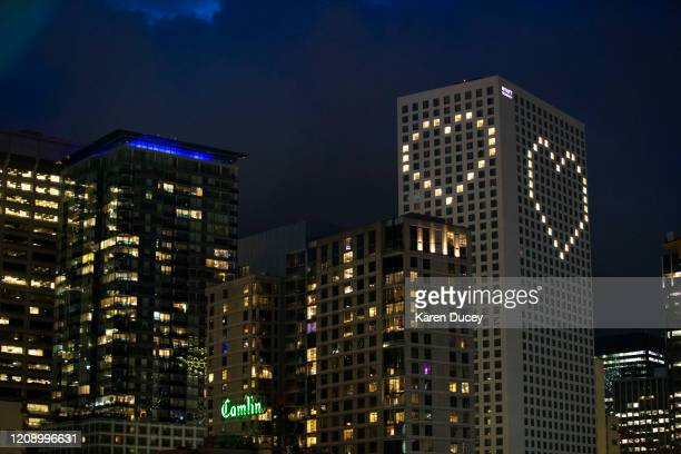 The Hyatt Regency has strategically lit up rooms to create a heart on April 2, 2020 in Seattle, Washington. Hotel operations have ceased since the...