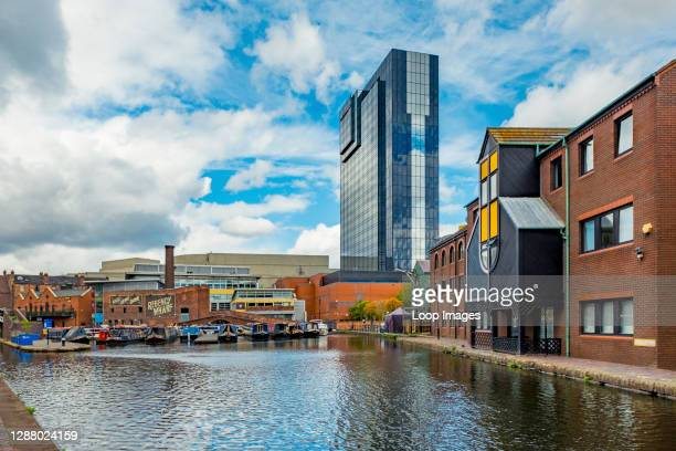 The Hyatt Regency towers over Regency Wharf and Gas Street Basin in central Birmingham.