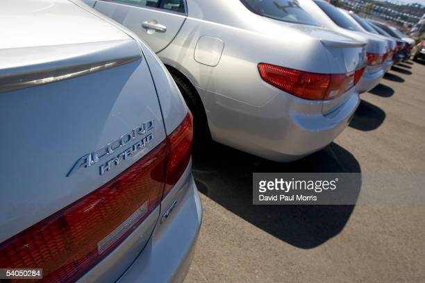 The hybrid cars are seen at the Honda dealership on September 1 2005 in San Francisco California With gas prices rising motorists are starting to...
