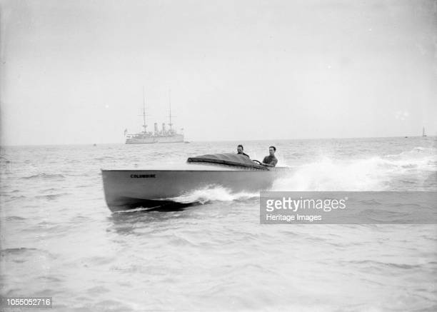 The hydroplane 'Columbine' under way The Fauber design hydroplane 'Columbine' was built by Sam E Saunders in 1909 Artist Kirk Sons of Cowes
