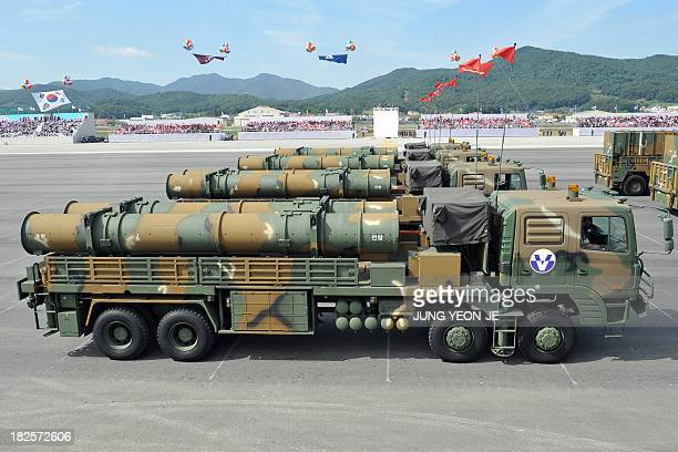 The Hyeonmu 3 an indigenously developed South Korean cruise missile capable of a surgical strike on North Korea is on parade during a ceremony...