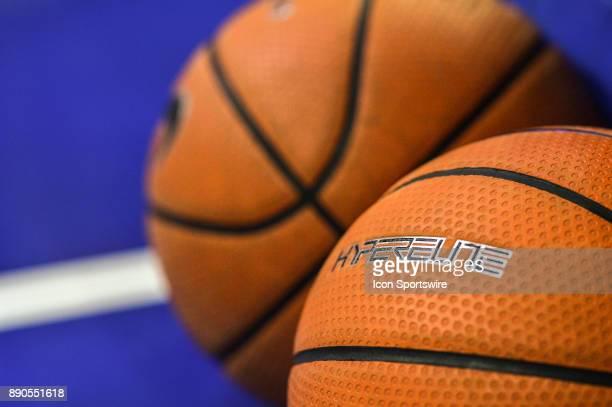 The Hyperelite logo on the Villanova Wildcats basketball before the college basketball game between the La Salle Explorers and the Villanova Wildcats...