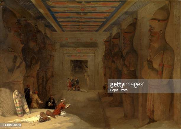 The Hypostyle Hall of the Great Temple at Abu Simbel, Egypt Signed and dated in brown, lower left: 'David Roberts R.A. 1849', David Roberts,...