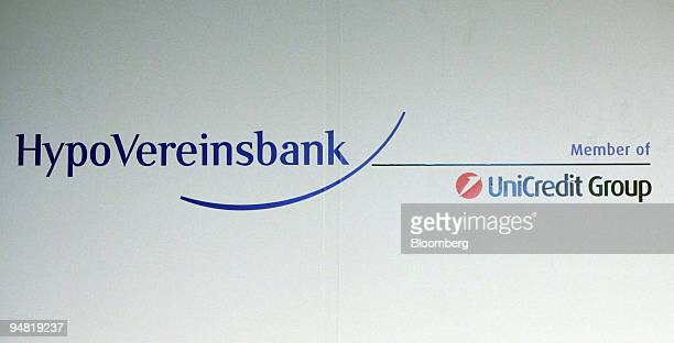 The HypoVereinsbank logo is seen on a wall at the annual press conference in Munich Germany Thursday March 23 2006 HVB Group the German lender bought...