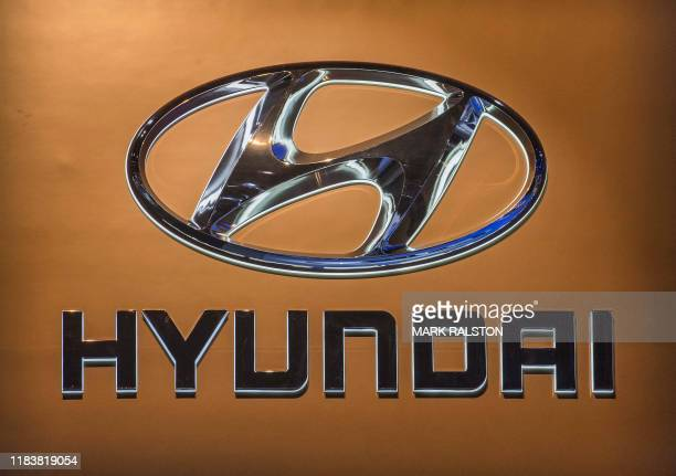 The Hyundai car logo on display during the AutoMobility LA event at the 2019 Los Angeles Auto Show in Los Angeles California on November 21 2019 The...