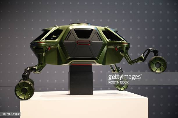 The Hyundai Elevate an Ultimate Mobility concept vehicle is displayed during the Hyundai press conference at the Mandalay Bay Convention Center...