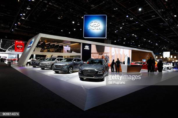 The Hyundai exhibit is shown at the 2018 North American International Auto Show January 16 2018 in Detroit Michigan More than 5100 journalists from...