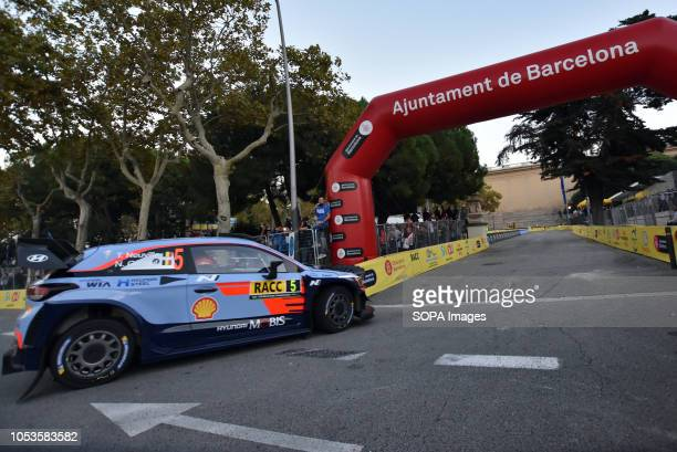 The Hyundai i20 Coupe WRC of the pilots Thierry Nouville and Nicolas Gilsoul seen at the asphalt stage in Barcelona during the RACC Catalunya Costa...