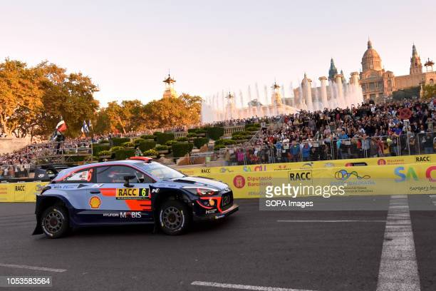 The Hyundai i20 Coupe WRC of the Spanish pilots Dani Sordo and Carlos del Barrio seen at the asphalt stage in Barcelona during the RACC Catalunya...