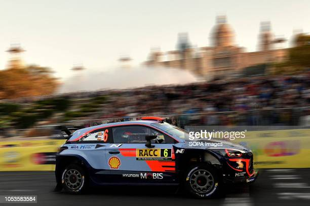 BATCELONA BARCELONA CATALONIA SPAIN The Hyundai i20 Coupe WRC of the Spanish pilots Dani Sordo and Carlos del Barrio seen at the asphalt stage in...