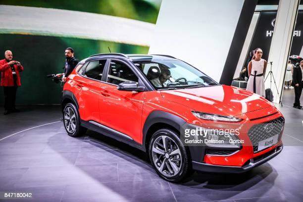 The Hyundai Kona on display at the 2017 Frankfurt Auto Show 'Internationale Automobil Ausstellung' on September 13 2017 in Frankfurt am Main Germany