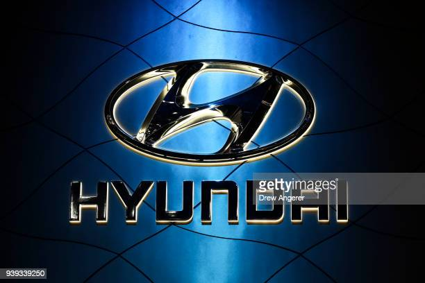 The Hyundai logo is displayed at the New York International Auto Show March 28 2018 at the Jacob K Javits Convention Center in New York City SUVs and...