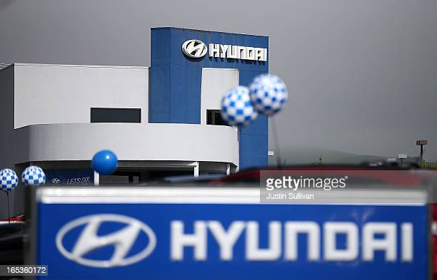 The Hyundai logo is displayed in front of Petaluma Hyundai on April 3 2013 in Petaluma California Hyundai and Kia announced a recall of nearly 19...