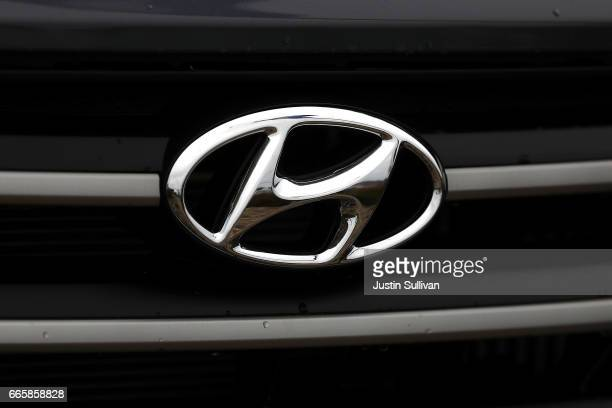 The Hyundai logo is displayed on a brand new Hyundai Santa Fe SUV at a Hyundai dealership on April 7 2017 in Colma California South Korean automakers...