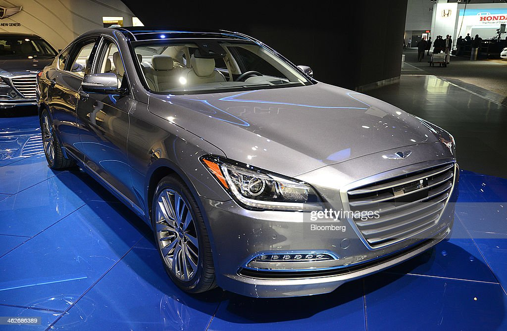 The Hyundai Motor Co. 2015 Genesis sedan vehicle is displayed during the 2014 North American International Auto Show (NAIAS) in Detroit, Michigan, U.S., on Tuesday, Jan. 14, 2014. Hyundai Motor America, after lackluster U.S. growth in 2013, introduced a restyled Genesis yesterday with a heftier look, with a broad front grille and sculpted body panels, and is the first Hyundai sedan with optional all-wheel-drive, the company said. Photographer: Daniel Acker/Bloomberg via Getty Images