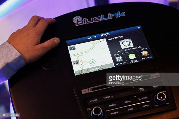 The Hyundai Motor Co Blue Link with Apple Inc CarPlay is demonstrated during the 2015 Consumer Electronics Show in Las Vegas Nevada US on Wednesday...
