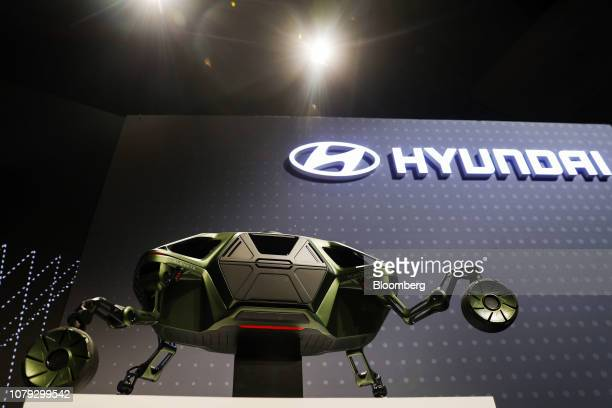 The Hyundai Motor Co Elevate walking car concept sits on display during the company's event at the 2019 Consumer Electronics Show in Las Vegas Nevada...