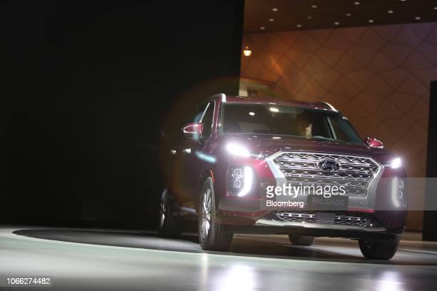 The Hyundai Motor Co Palisade sports utility vehicle is displayed during AutoMobility LA ahead of the Los Angeles Auto Show in Los Angeles California...