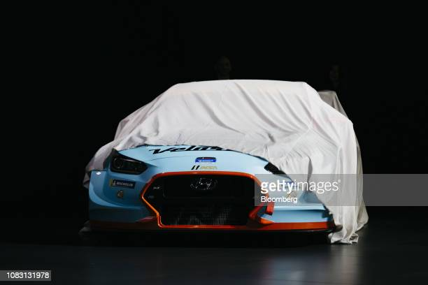 The Hyundai Motor Co. Veloster N TCR race car is unveiled during the 2019 North American International Auto Show in Detroit, Michigan, U.S., on...