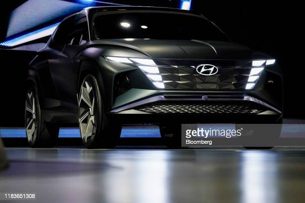 The Hyundai Motor Co. Vision T plug-in hybrid concept sports utility vehicle is displayed during a reveal event ahead of the Los Angeles Auto Show in...