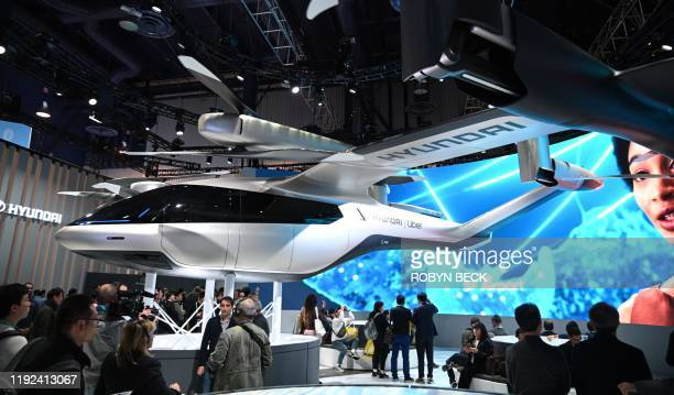 The Hyundai SA1 electric Urban Air Mobility concept is displayed January 7 2020 at the 2020 Consumer Electronics Show in Las Vegas Nevada The flying...