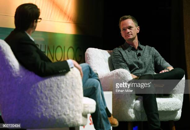 The IAm App CEO Cody Willard and actor and IAm App ambassador Neil Patrick Harris talk during a press event for CES 2018 at the Aria Resort Casino on...