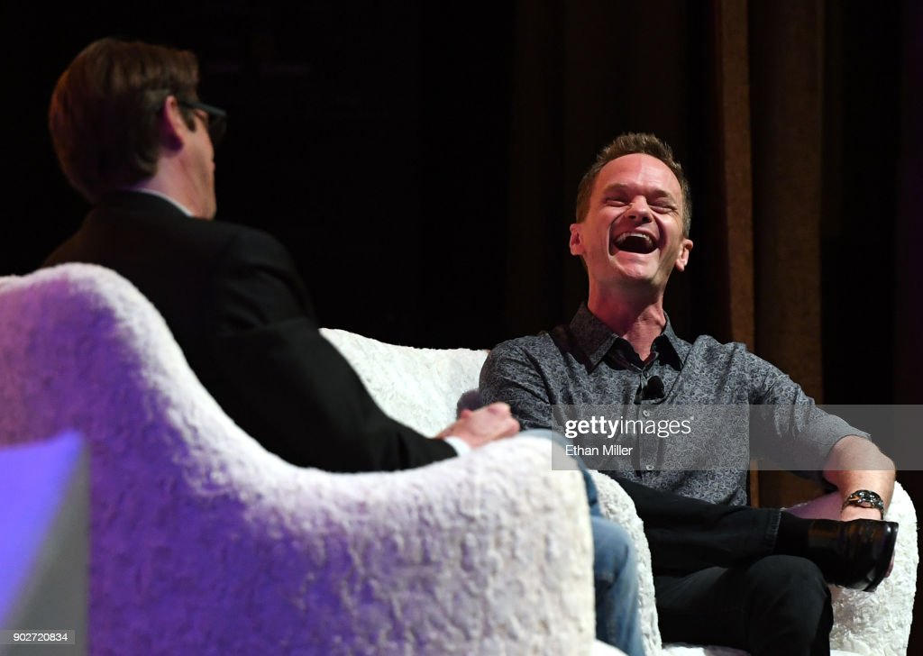 The IAm App CEO Cody Willard (L) and actor and IAm App ambassador Neil Patrick Harris talk during a press event for CES 2018 at the Aria Resort & Casino on January 8, 2018 in Las Vegas, Nevada. CES, the world's largest annual consumer technology trade show, runs from January 9-12 and features about 3,900 exhibitors showing off their latest products and services to more than 170,000 attendees.