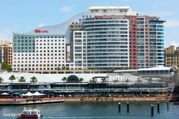 The Ibis Hotel stands above the Harborside shopping & restaurant complex on Darling Harbor, Sydney, New South Wales, Australia.