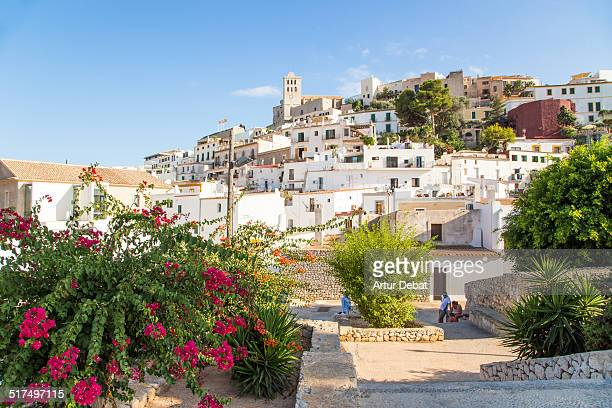 the ibiza old town with flowers on summertime. - insel ibiza stock-fotos und bilder
