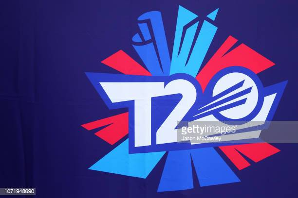 The ICC 2020 T20 World Cup logo is seen during a Media Opportunity at the Sydney Cricket Ground on November 24 2018 in Sydney Australia
